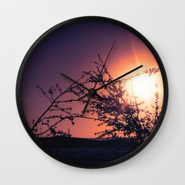 Catching the Moment (Coral Orange Sunset, Dark Violet sky) Wall Clock