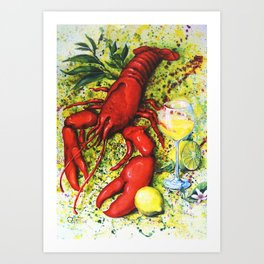Lobster and Wine Art Print
