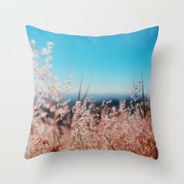 Whispering Grass Turquoise Sky Throw Pillow