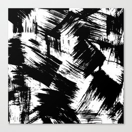 Modern black white watercolor brushstrokes pattern Canvas Print