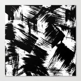 Modern black white watercolor brushstrokes pattern Canvas Print