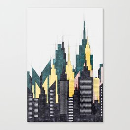 Colorful City Buildings And Skyscrapers Sketch, New York Skyline, Wall Art Poster Decor, New York Canvas Print