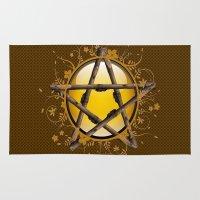 pentagram Area & Throw Rugs featuring Flower Pentagram by The Painted Kat