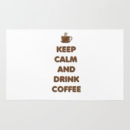 Keep Calm and Drink Coffee Typography Rug