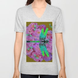 EMERALD DRAGONFLIES  PINK ROSES AVOCADO COLOR Unisex V-Neck
