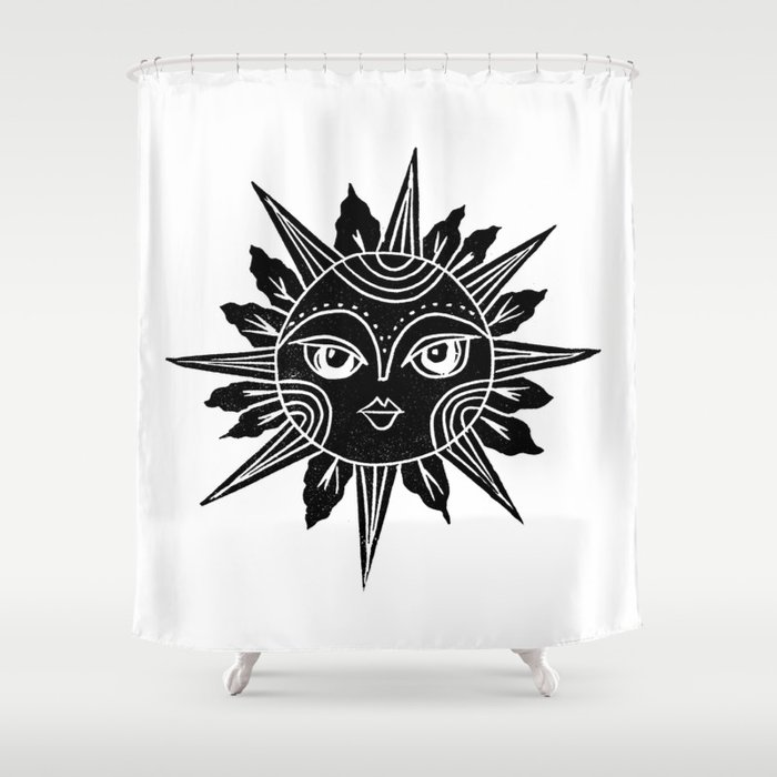 Linocut Sun Moon Face Black And White Illustration Shower Curtain