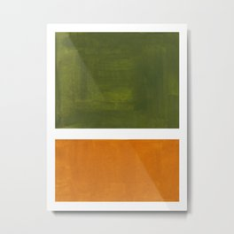 Olive Green Yellow Ochre Minimalist Abstract Colorful Midcentury Pop Art Rothko Color Field Metal Print
