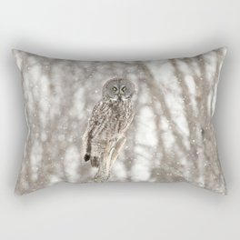 Great gray on a snowy day Rectangular Pillow