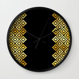Turkish carpet gold black. Patchwork mosaic oriental kilim rug with traditional folk ornament Wall Clock