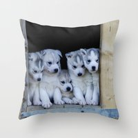 puppies Throw Pillows featuring Husky puppies by Nathalie Photos