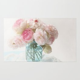 pink roses in blue jar Rug