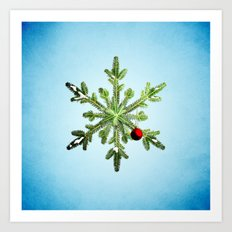 Winter Holidays Pine Snowflake Art Print