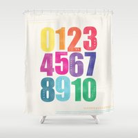 numbers Shower Curtains featuring Numbers by Laura Flowerday (PaperCrane)