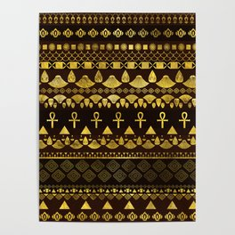 Egyptian Ethnic Pattern gold on rich browns Poster