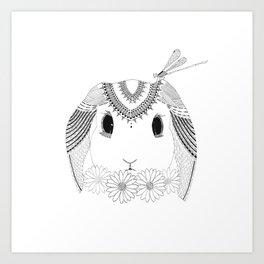 Bunny, Daisy, and Dragonfly Art Print