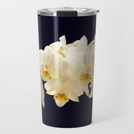 Beautiful White Orchid Flower on the Dark Blue Background Travel Mug