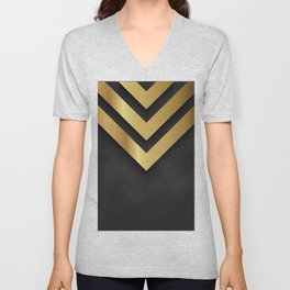 Back and gold geometric design Unisex V-Neck