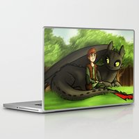 hiccup Laptop & iPad Skins featuring hiccup n' toothless by Marie Mikolay