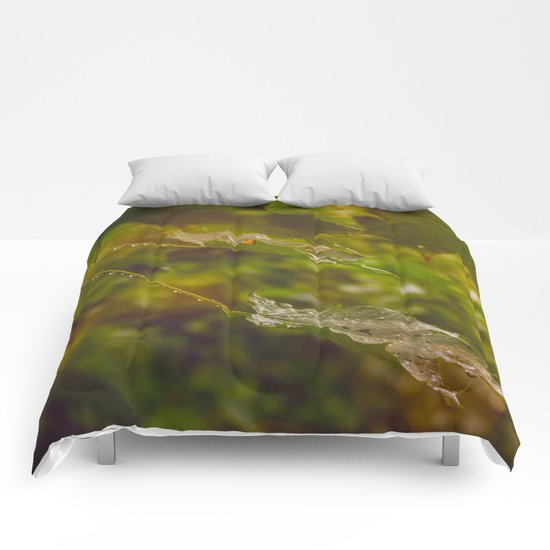 Rainy autumn leaves Comforters