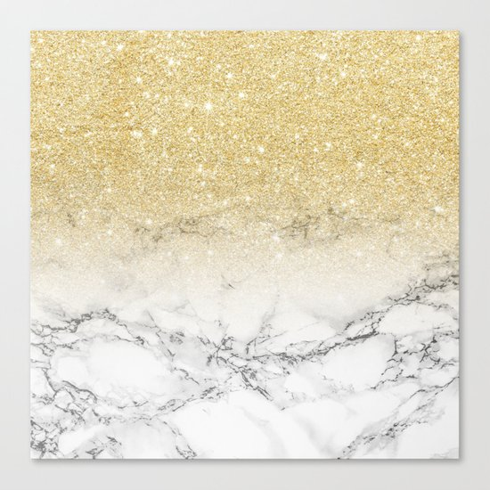 Modern faux gold glitter white marble color block Canvas Print
