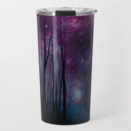 Fantasy Forest Path Dark Amethyst Blue Travel Mug
