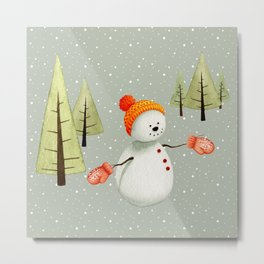 Snowman with mittens Metal Print