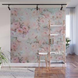 Vintage romantic blush pink teal bohemian roses floral Wall Mural