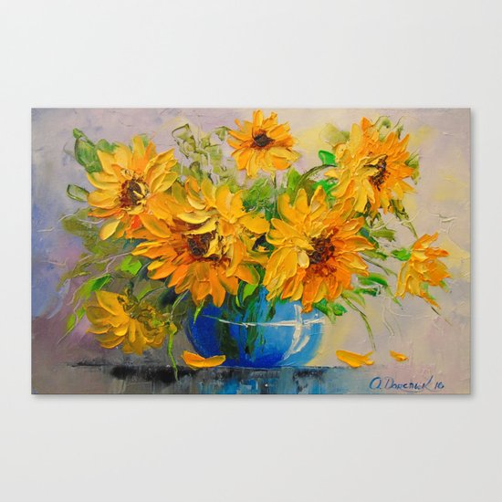 Bouquet of sunflowers in a vase Canvas Print