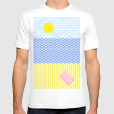The beach White MEDIUM Mens Fitted Tee