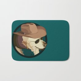 Golden Retriever in a Cowboy Hat Bath Mat