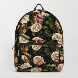 Vintage Botanical Flower Lady Pattern Backpack