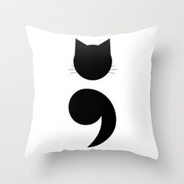 Cat Semicolon Throw Pillow