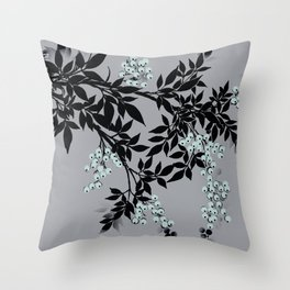 TREE BRANCHES BLACK AND GRAY WITH BLUE BERRIES Throw Pillow