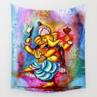 ganesha Wall Tapestries featuring Ganesha by Watercolor & Photography by Rita
