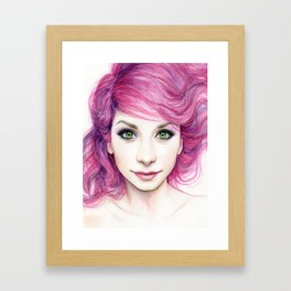 Pink Hair Green Eyes Beautiful Girl Framed Art Print