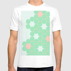 Teal Dot MEDIUM White Mens Fitted Tee