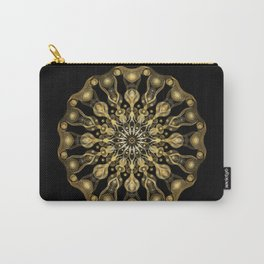 Gold Mandala with black background I- Light Frequency Energy Art Carry-All Pouch