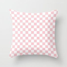 Large White and Light Millennial Pink Pastel Color Checkerboard Throw Pillow