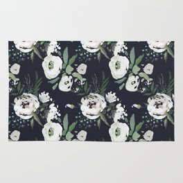 Hand painted white mauve green dark gray watercolor flowers Rug