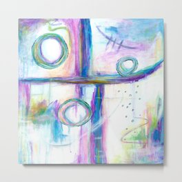 Just the Three of Us, Abstract Art Painting Metal Print