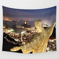 christ Wall Tapestries featuring Christ the Redeemer ✝ Statue  by D.A.S.E. 3