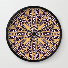 Abstract floral mandala in dots  Wall Clock