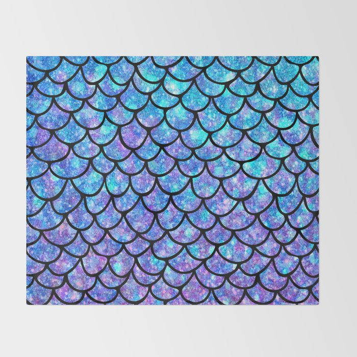 Purples & Blues Mermaid scales Throw Blanket
