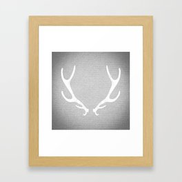 White & Grey Antlers Framed Art Print