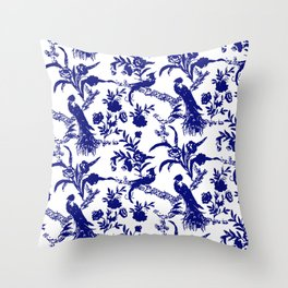 Royal french navy peacock Throw Pillow