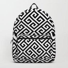 Black & White Ornate Twists Geometric Pattern Backpack