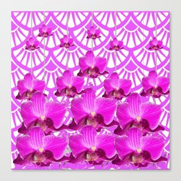 PURPLE ART DECO PATTERN ORCHIDS PATTERN ABSTRACT Canvas Print