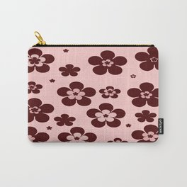 Pink with brown flowers Carry-All Pouch