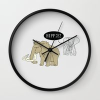 hippie Wall Clocks featuring Hippie by Digital Sketch