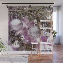 Pink Christmas shimmering baubles twig Wall Mural